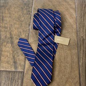 J.Crew blue striped skinny tie.NWT.100% silk
